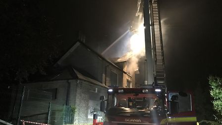 Fire crews tackle a blaze at the derelict former Langley Preparatory School site at Thorpe House in