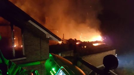 The fire as seen from the aerial platform at the former Thorpe House Langley Preparatory School site