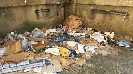 Rubbish, including used needles, accumulated at Old Post Office Court. Picture: Archant