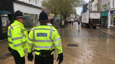 Officers patrolling Norwich city centre as part of a day of action. Picture: Archant