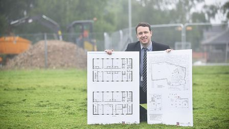 Work has begun on the £4.5m expansion at Hillcrest Primary School in Downham Market. Pictured with t