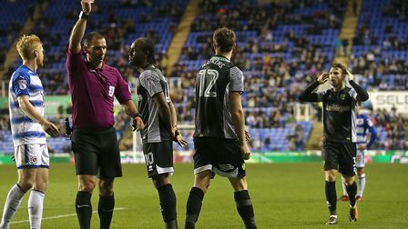 Marley Watkins was sent off in the latter stages of Norwich City's 2-1 win at Reading by referee Tim