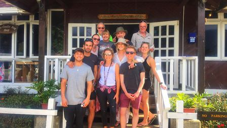 Mark Thompson with his fellow trekkers, who reached the summit of Mount Kinabalu after a gruelling