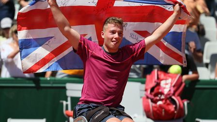 Alfie Hewett celebrating his French Open singles victory at Roland Garros last year. Picture: Tennis