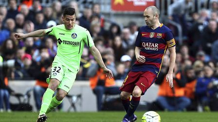 Norwich City target Emiliano Buendía competes with Spain and Barcelona legend Andreas Iniesta during