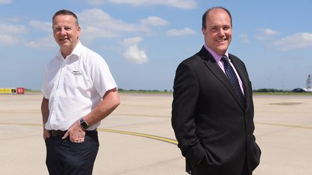 John Dewing, left, flight support operations manager, and Alex Durand, chief executive of SaxonAir,