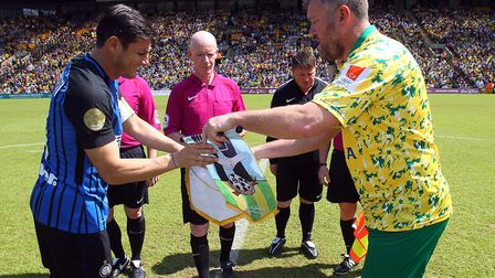 Inter Forever skipper Javier Zanetti and Norwich City Legends captain Rob Newman exchange pennants b