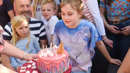 Ella-Grace Honeyman celebrating her 11th birthday with her family at her home in Hevingham. Picture: