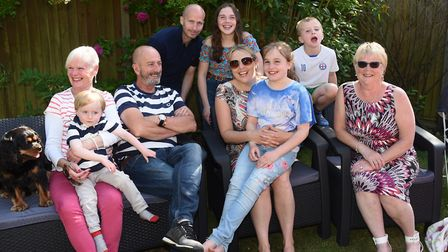 Ella-Grace Honeyman, centre, celebrating her 11th birthday with her family at her home in Hevingham.