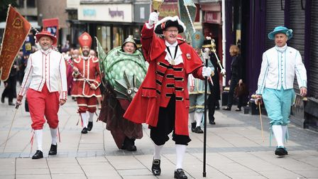 Towncrier, Bob Lloyd, leading the procession to mark the start of Norwich's civic year. Picture: DEN