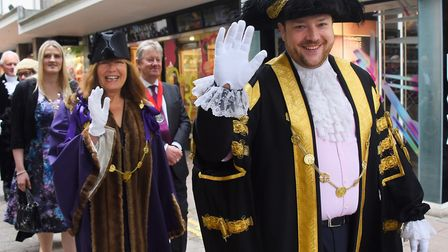 Lord Mayor of Norwich, Martin Schmierer, and Sheriff, Ros Brown, in the procession to mark the start