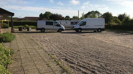 Travellers have moved onto the car park of Bawburgh Village Hall. Photo: Supplied