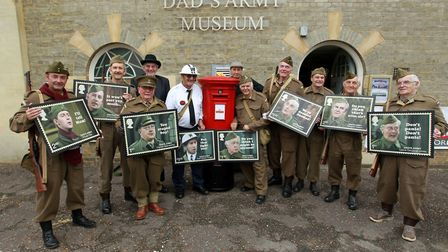 Dad's Army re-enactment platoon at The Dad's Army Museum, Thetford. 2 June 2018.
