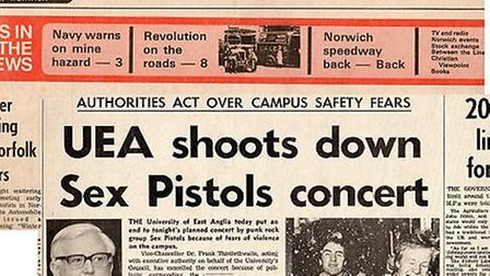 A front page from UEA's decision to cancel the first day of the Sex Pistols tour. Picture: Archive