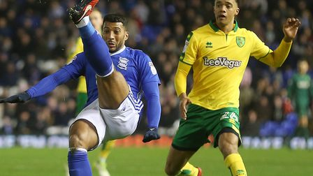 Jamal Lewis made his full Norwich City debut in the 2-0 Boxing Day win at Birmingham City Picture by