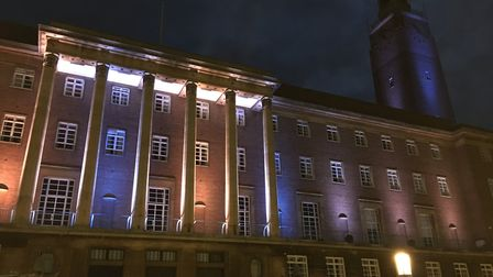 City Hall was illuminated in blue and orange to mark Global Motor Neurone Disease Awareness Day. Pic