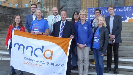 Campaigners and councillors join Lord Mayor Martin Schmierer on the steps of City Hall. Pic: Jo Heal