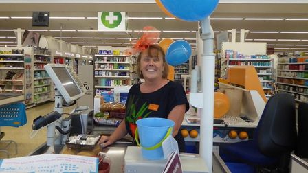 Tracey Snelling marking Global MND Awareness Day at Sainsbury's . Pic: Sue Heal.