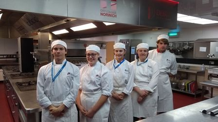 From left to right, City College Norwich students James Barnes, Megan Bunn, Ruby-Mae Elsden, Ashleig
