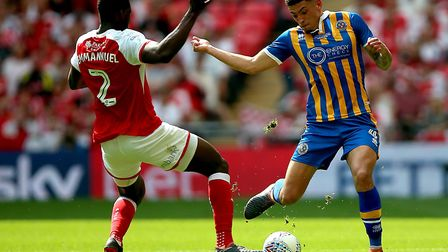 Ben Godfrey in action for Shrewsbury during the League One play-off final at Wembley Picture: PA