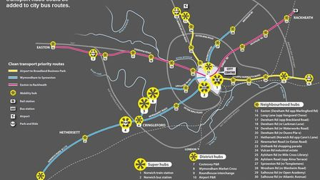 Map showing where new transport hubs could be added to Norwich bus routes, Picture: Transport for No