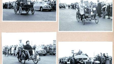Kings of the road: four of the veteran vehicles drive along Great Yarmouth's Marine Parade to comple