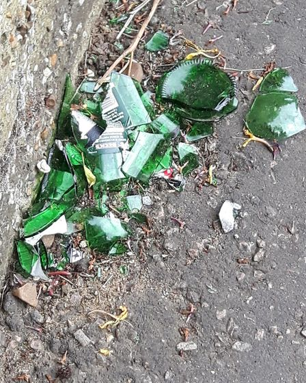 Broken glass pictured in west Earlham, after residents said students were causing concern in the are