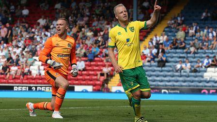 Steven Naismith celebrates after scoring City's fourth goal at Blackburn in 2016 Picture: Paul Chest