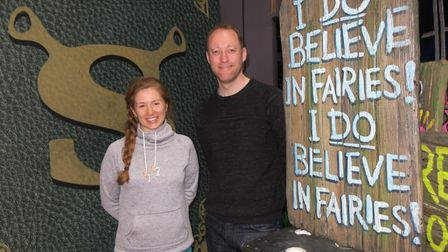 Dance captain Amy Oxley.and company manager Davin Patrick backstage at Shrek The Musical at Royal &