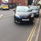 An unmarked police car cut off the Citroen Xsara on Ber Street just before the junction with the Cit