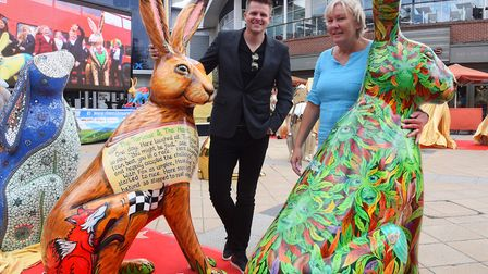 Patron, Jake Humphrey, and chief executive, Hilary Richardson, at the big reveal of the GoGoHares at