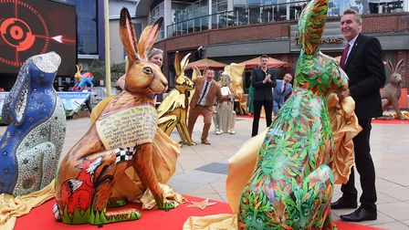 The big reveal of some of the GoGoHares at a Hare PremiHare at Riverside, with patron Jake Humphrey,
