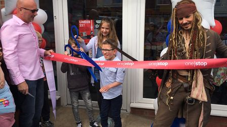 Captain Jack Sparrow helps out with the opening of One Stop in Cromer. Pictured with the competition