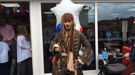 Captain Jack Sparrow helps out with the opening of One Stop in Cromer. Picture: DONNA-LOUISE BISHOP