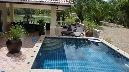 The swimming pool at the Thailand home. Pic: John Wilson.