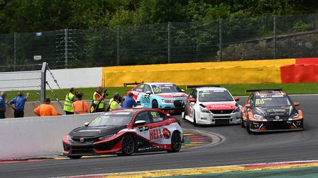 Josh Files chasing victory in the second TCR Europe race at Spa-Francorchamps before an electrical f