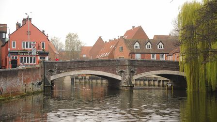 The City of Norwich viewed from the River Wensum. Quay Side and Fye Bridge. Picture: Denise Bradley