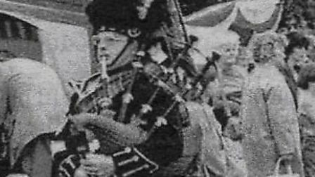 Pipe Major Sid George with the Norwich and District Pipe Band at Buxton Fayre in 1983, has died. Pic
