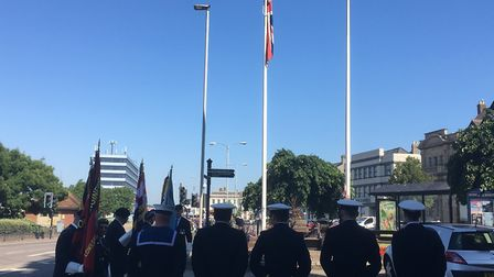 A special flag to mark Armed Forces Day in Great Yarmouth being raised last summer Picture: David Ha