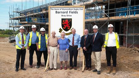 Building taking palce at Barnard Fields, which will be Wymondham Rugby Club's new home. Picture: WYM