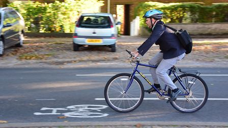 A cyclist uses the lane in The Avenues in Norwich. Picture: DENISE BRADLEY