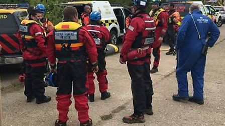 Rescue teams as they search for the missing 75-year-old man at Titchwell Marsh. Picture: Hunstanton