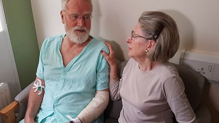 Peter Pugh and his wife Felicity at the Queen Elizabeth Hospital in King's Lynn Picture: QEH