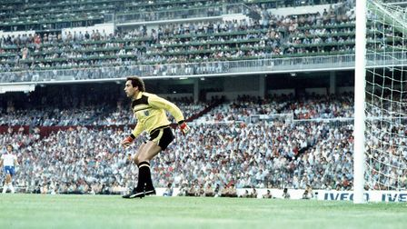 Peter Shilton in goal for England at the 1982 World Cup. Photo: PA