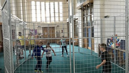 A church in Gorleston was taken over by young people on Friday evening as a football cage was instal