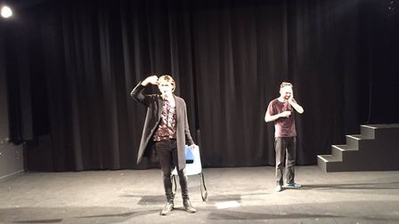 Rehearsals for the show You Down There And Me Up Here by theatre company We Talk Of Horses.Photo: su