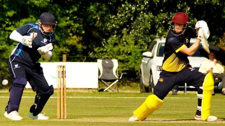 Jordan Taylor on his way to an unbeaten 87 for Norfolk against Bedfordshire in the first round of th