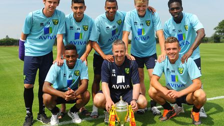 Reece Hall-Johnson, front left, with his fellow FA Youth Cup winners in 2013. Picture: Denise Bradle