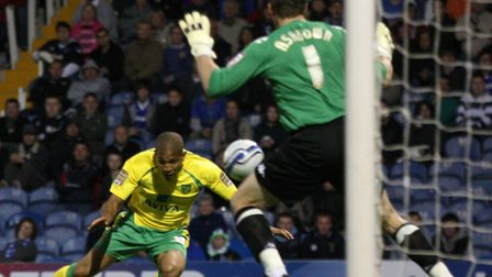 Simeon Jackson's famous header at Portsmoutn in May 2011, which fired Norwich to promotion. Picture: