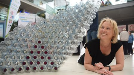 Paula Boyce, Norfolk Waste Partnership, with a pyramid made from recycled plastic bottles by artist